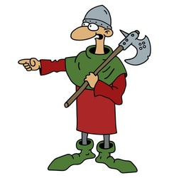 Funny old warrior with a war axe vector