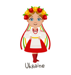 Girl in ukraine country national clothes wearing vector