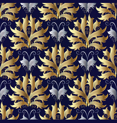 Gold silver baroque seamless pattern damask blue vector