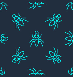 Green line ant icon isolated seamless pattern vector