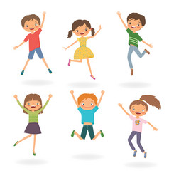 Group of children jumping vector