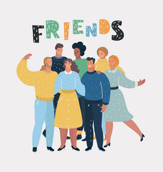 group of happy talking friends vector image