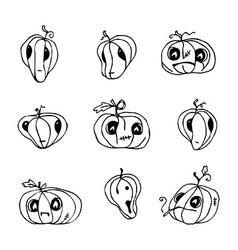 Halloween pumpkins pack vector