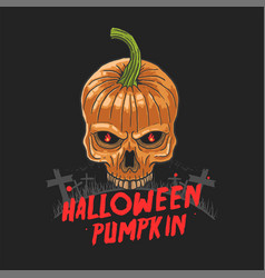 halloween skull pumpkin nightmare vector image