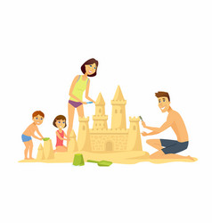 happy children on the beach - cartoon people vector image