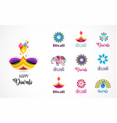 happy diwali hindu festival icons elements logo vector image