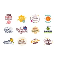 Happy Raksha Bandhan emblems set vector