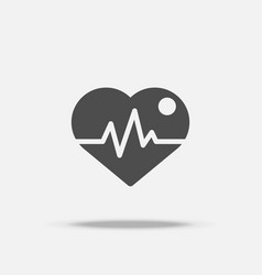 heart with pulse icon flat design with shadow vector image