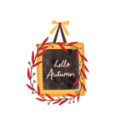 hello autumn flat frame template greeting vector image