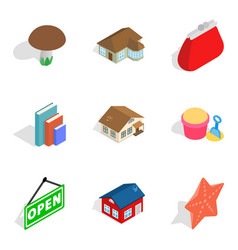 Home furnishings icons set isometric style vector