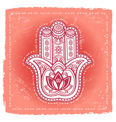 Indian hand hamsa on ethnic background vector