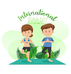 International yoga day banner with a couple doing vector