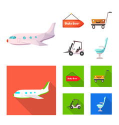 isolated object airport and airplane symbol vector image