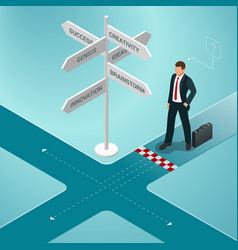 isometric business directions businessman vector image