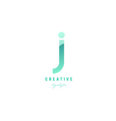 J green pastel gradient alphabet letter logo icon vector
