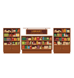 library book shelves wooden furniture education vector image