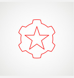 Linear icon communism red star with gear vector