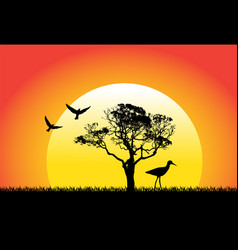 Nature and birds on sunset background vector
