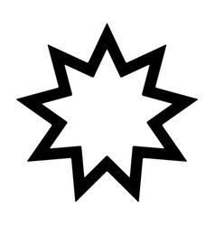nine pointed star - symbol of bahai faith icon vector image