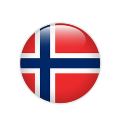 Norway flag on button vector