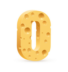 Number zero of cheese on white background for vector