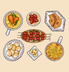Oriental cuisine dishes cartoon set vector