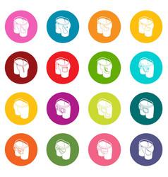 pants pockets design icons set colorful circles vector image