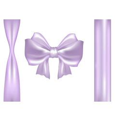 pastel pink purple satin bow with ribbons vector image