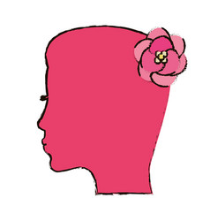 pink silhouette mother flower concept vector image