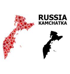 Red star mosaic map kamchatka peninsula vector
