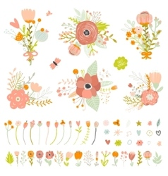 Romantic and love summer bouquets flowers vector