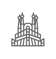 Sagrada familia spain landmark line icon vector