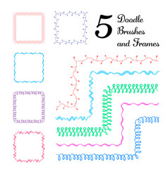 Set five hand drawn brushes with corner vector