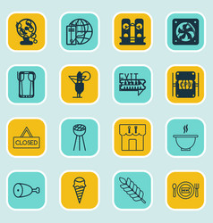 Set of 16 eating icons includes wheat fresh vector