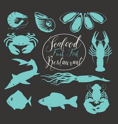 set of animal drawings on the theme of seafood vector image