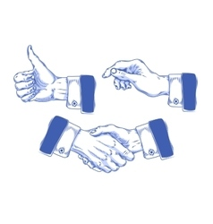 Set of icons mens hands making various gestures vector