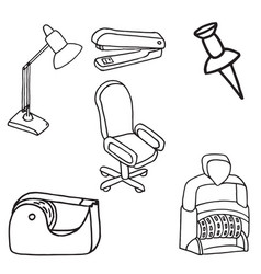 Set of office equipment doodle icons vector