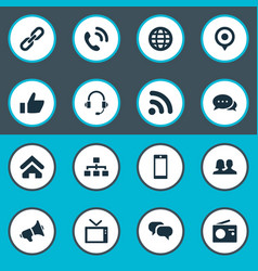 set simple network icons vector image