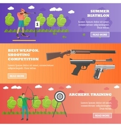 set sport shooting weapons banners vector image
