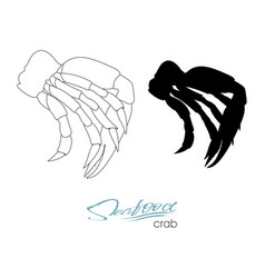 Silhouette crab meat linear silhouette crab meat vector