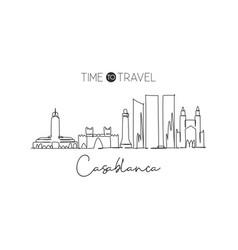 single continuous line drawing casablanca city vector image
