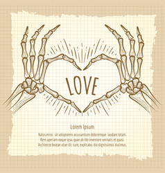 Skeleton hands love sign vintage backdrop vector