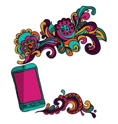 Sketch mobile smart phone abstract content vector