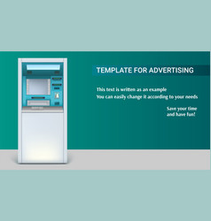 Template with bank cash machine for advertisement vector