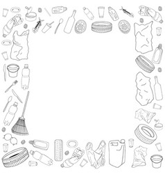 Template with different kinds of garbage and bags vector