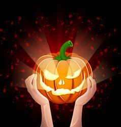 Two hands holding pumpkin halloween vector