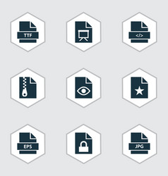 Types icons set with organize folio code and vector