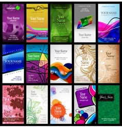 Variety of 15 vertical business cards vector