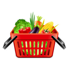 Vegetables in supermarket basket isolated vector