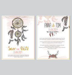 wedding invitation template in boho style vector image
